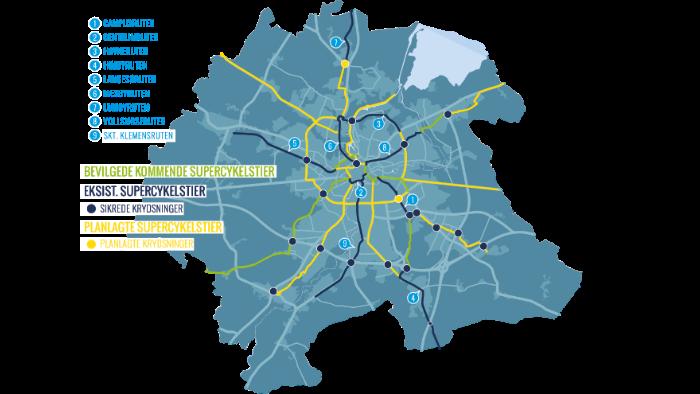 Billede af supercykelsti nettet i Odense Kommune.